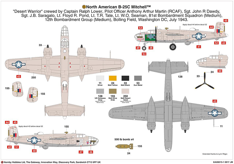 Airfix North American B-25C/D Mitchell marking options