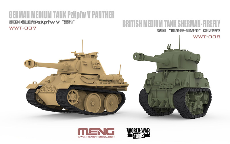 Meng World War Toons Tanks Panther and Firefly