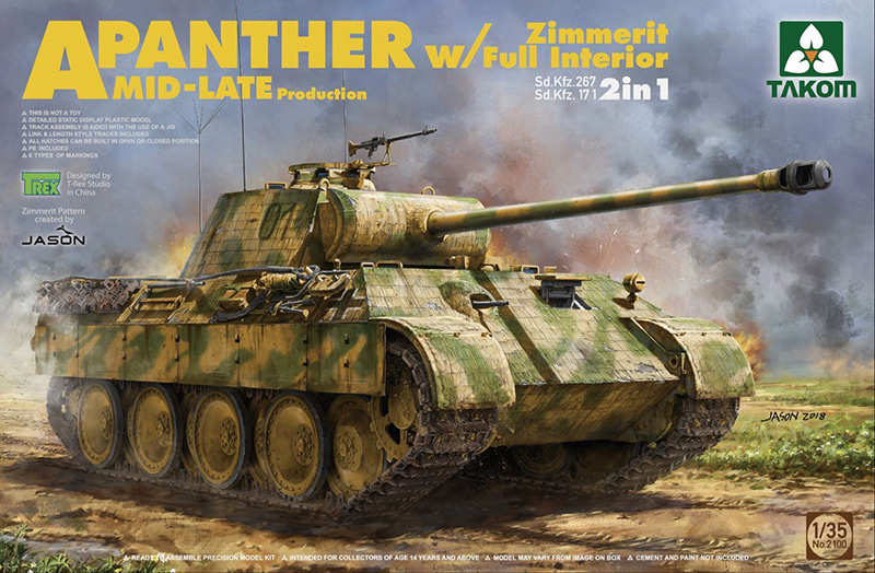 Takom 1/35 Panther Ausf A Mid-Late with Zimmerit and Full Interior box cover