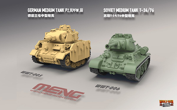 Meng World War Toon T-34 and Panzer III tanks